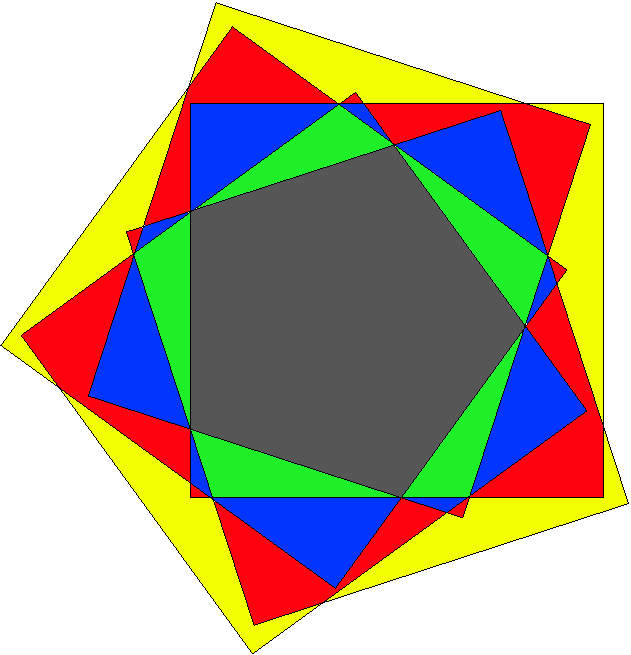 triangles and a 7 venn diagram whose curves are non convex 5 gons